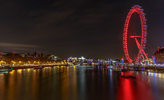 Thames night view (Vigor11) Tags: london lights river thames nightshot longexposure trees winter buildings cool lines londoneye lamps orange lilac brown red blue movement boats bridge lighttrails blur landscape night water skyline sky city