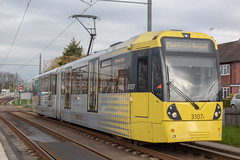 Metrolink 3107 (Mike McNiven) Tags: manchester metrolink tram metro lightrail lrv manchesterairport airport victoria marketstreet baguley southmoorroad