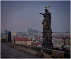 The Prague Perspectives (15) (kurtwolf303) Tags: prag praha prague karlsbrücke bridge cityscape statuen kurtwolf303 sky himmel mft olympusem1 omd stadt urban tschechien czechrepublic dawn morgendämmerung