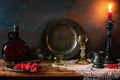 Still Life With Pewter. (memoryweaver) Tags: candlestick candle winter berries memoryweaver tabletop stilllife flagon röemer rammer roomer glass antiques pewter textured