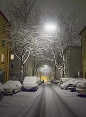 white street (koaxial) Tags: p1097887ap1097890suma1 koaxial street munich münchen narrow road strasse snow schnee illuminated beleuchtet winter january 2019 white