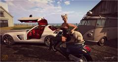 # 277 GQUEUE / ADN / JESS POSE (Mysterieuse Lady) Tags: adn diaz dress jess pose scooter femme gqueue gullwing sls car