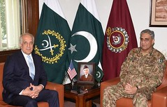 COAS Bajwa, Zalmay Khalilzad discuss matters relating regional security (Maktab_e_Hussain (as)) Tags: coas bajwa zalmay khalilzad discuss matters relating regional securityus special representative for afghan reconciliation called chief army staff general qamar javed headquarters rawalpindi fridayduring meeting overall security situation with particular reference going process were discussedthe visiting dignitary appreciated pakistan's efforts towards peace processfrom latest news such tv httpbitly2cxmapx