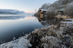 Delicate (Pete Rowbottom, Wigan, UK) Tags: landscape lakedistrictnationalpark lakedistrict lake thelakes classiclakes englishlakes ullswater dukeofportlandboathouse lone house frost ice water winter uklandscape hoarfrost reeds grass mountains delicate peterowbottom foreground waterreflections reflection trees winterlandscape cumbria dawn sunrise light nature 2019 new art cold pink red yellow england geotagged