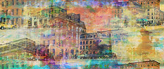 Commercial Street... (Mark Noack) Tags: light color photoshop layers layering abstract expressionism portland maine surreal futurist distortion photomanipulation cellphonephoto awardtree shockofthenew