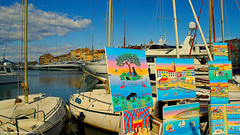 Paintings market at the port... (Mona Zimba) Tags: sainttropez painting market exhibition port harbor seascape colorful provence frenchriviera colourartaward