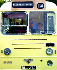 You Don't Need Any Coaching to Enjoy the Broadway Hotel! (antonychammond) Tags: coach bus broadwayhotel broadway headlamps yellow green thegalaxy