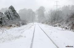 Snow Train (Clayton Perry Photoworks) Tags: vancouver bc canada richmond snow winter explorebc explorecanada train tracks