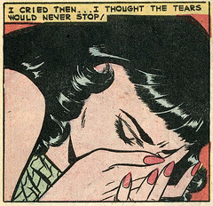 "I cried then... I thought the tears would never stop! ""Tears of a Fool"", Teen-Age Love #8 (1959), art by Vince Colletta (gameraboy) Tags: tearsofafool teenagelove 8 1959 art vincecolletta 1950s romance romancecomics comics comicbook comicbookart illustration vintage"