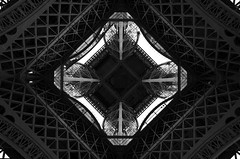 Engineering of Eiffel tower (Valantis Antoniades) Tags: underneath eiffel tower paris france engineering black white blackandwhite