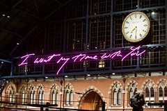I want my time with you (@WineAlchemy1) Tags: traceyemin paulday dentclock stpancras eurostar railwaystation london bronzestatue art permanent temporary love reunited grandterrace neon sculpture