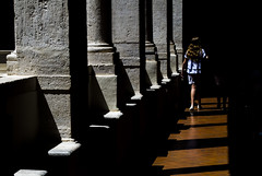[ Proiezioni - Projections ] DSC_0310.R2.jinkoll (jinkoll) Tags: light people street contrast black girl kid columnade columns shadow shade step walking walk passing passerby colonnade porch portico architecture rome roma perspective direction geometry city urban town historical history chiostro bramante