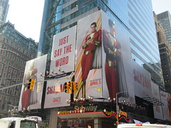 Shazam The Big Red Cheese Billboard 42nd St NYC 3812 (Brechtbug) Tags: shazam billboard 42nd street new captain marvel the big red cheese poster ad nyc 2019 times square movie billboards york city work working worker paint painting advertisement dc comic comics hero superhero alien dark knight bat adventure national periodicals publication book character near broadway shield s insignia blue forty second st fortysecond 03142019 lightning flight flying march
