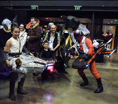 The Force Surrounds Them (Steve Taylor (Photography)) Tags: starwars millenniumfalcon xwing pilot bb8 r2d2 newzealand nz southisland canterbury christchurch people addington armageddonexpo armaggedon costume helmet mask outfit robot