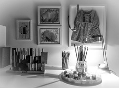Little things... (@petra) Tags: bw monochrome sw pb bn room indoor wall artworks childrensartworks dress toy brushes paints pencils lamp cellphonephotography