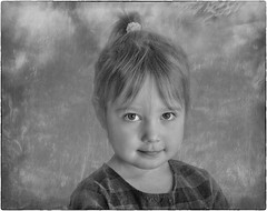 My Cute Look (jta1950) Tags: kid child enfant children person people portrait girl fille cute adorable little bw blackandwhite noirblanc zs100