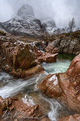 Down in the Glen .... (Mike Ridley.) Tags: gearraonach threesisters glencoe stream glen scotland snow snowstorm sonya7r2 mikeridley nature winter