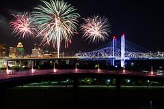 After the ball game (sniggie) Tags: bigfourpedestrianbridge johnfkennedymemorialbridge kentucky lincolnbridge louisville louisvillebats downtown fireworks riverfront milb