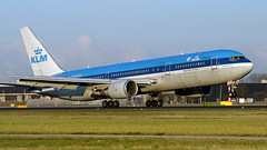 KLM 767-300. (spencer_wilmot) Tags: kl klm kaagbaan ams amsterdam amseham eham schiphol holland netherlands blue 767 767300 b767 b763 763 boeing767300 touchdown landing landinggear runway ramp taxiway twin heavy widebody longhaul aviation aircraft airplane airliner airport arrival apron approach boeing civilaviation commercialaviation plane passengerjet ils jet jetliner cheatline phbzm royaldutchairlines