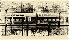 La mélodie du TGV  / The melody of the TGV (vedebe) Tags: monochrome noiretblanc netb bw nb ville city rue street urbain urban trains wagon tgv gares gare marseille