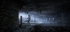 Metro: Last Light Redux / What's Up Ahead? (Stefans02) Tags: metro last light redux 2033 adventure tunnels russia metrotunnels radiation environments environment atmosphere 4k hotsampled downsampling hotsampling beautiful games game screenshot screenshots digital art image 4a deep silver first person shooter survival horror nuclear war artyom dark ones monochrome black background virtual virtualphotography videogames screencapture pcgaming societyofvirtualphotographers gaming wallpaper wallpapers wood sky city architecture people photo mode