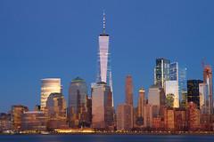 In a Cloudless Sky (SunnyDazzled) Tags: nyc newyorkcity newyork manhattan skyline skyscrapers oneworldtradecenter freedomtower clear lights night city longexposure water