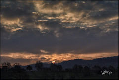Somewhere A Sunrise. (Picture post.) Tags: landscape nature green sunrise winter clouds hills paysage arbre trees