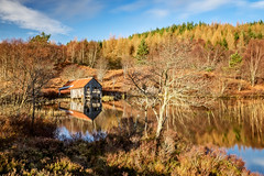 'How?' Too (Stoates-Findhorn) Tags: 2019 boathouse highland lochachlachain scotland spring trees reflections stoates steveoates olympus