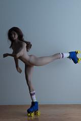 Roller Strip (edwicks_toybox) Tags: 16scale brunette femaleactionfigure flirtygirl jacket rollergirl rollerskates shorts tubetoppg13