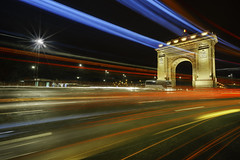 Triumph Arch (Adrian Mitu) Tags: bucharest night light trails cars long exposure blue red arch architecture nightphotography triumph lines urban scenic outdoors colors