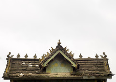 Dai Style Wood House, Xishuangbanna Region, Yunnan Province, China (Eric Lafforgue) Tags: a0006921 architecturalfeature architecture asia buildingexterior builtstructure china colorpicture copyspace day galamba ganlanba horizontal house nopeople outdoors residentialstructure roof wood xishuangbanna yunnan yunnanprovince menglun