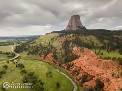 Devils Tower (Jenn Grover) Tags: 2018 aerial bellefourcheriver dji devilstower drone mavicpro uas uav wy wyoming clouds findyourpark green landscape monolith mywyoming nationalmonument nature overcast red rock shape sky summer