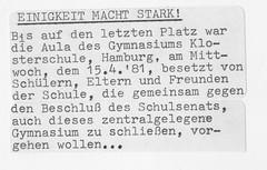 Schulbesetzung_Reher_35 (Klosterschule) Tags: klosterschule hamburg schulbesetzung besetzung schwarzweis blackandwhite history geschichte schulgeschichte historisch school schule 1981 80er 80s