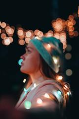 Drowning in the sea of stars. (Saragraphs) Tags: filmmaker femalefilmmaker photography citylights pink beautiful girl art dark love bokeh 50mm sigmaart sigma canon canob fairylights lights christmas winter stars