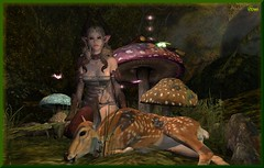 Watching Over You (0rco) Tags: elven fawn mushrooms butterflies sundown atmospheric serene animal magical forest faerie fairy trees