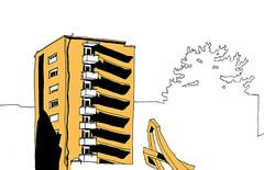Auerstraße, Durlach, Karlsruhe, January 2019 (stevefaradaysketches) Tags: towerblock architecture building sculpture durlach auerstrase karlsruhe urbansketch urbansketchers usk inkdrawing illustration shadows onlocation fineliner