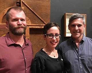 Curator John Bennett, Dr. Jill Deupi and Gustavo Bonevardi, son of the artist Marcelo Bonevardi, at the Lowe's opening of Marcelo Bonevardi: Magic Made Manifest.
