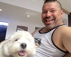 IMG_9101 (danimaniacs) Tags: dog tanktop self portrait enzo smile friends beard scruff