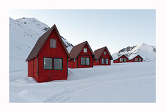 Red Cabins (www.halkaphoto.com) Tags: usa alaska palmer hatcherpass lodge cabin red winter snow mountains
