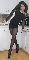 B&W Bodycon (therealdavinawayne74) Tags: tgirl transvestite tranny tights pantyhose dragmakeup dragqueen drag hosiery highheels stilettoheels nylons