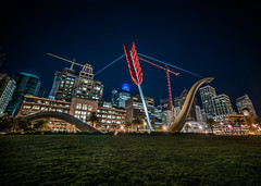 cupid doesn't care (pbo31) Tags: sanfrancisco california nikon d810 color night dark black march 2019 boury pbo31 city urban embarcadero financialdistrict art sculpture skyline cupid arrow salesforce fisheye lens