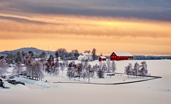 Winter afternoon, Norway (Vest der ute) Tags: xt20 norway buskerud røyken winter trees buildings snow sky clouds fav25 fav200