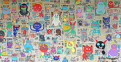 Monster Hunt (Rollingstone1) Tags: aberdeen scotland bortuskleer monsters monster vivid colour wall bonaccord rooftopgarden art artwork