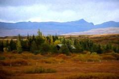 From Iceland. (Tóta. 27.12.1964.) Tags: landscape autumn trees mountain grass sky clouds borgarfjörður iceland ísland