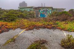 Ample parking. (j1985w) Tags: california pacifica sweeneyridge sf51 nikemissile controlsite building fog graffiti coldwar