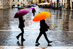 DSCF6217a (Ankar403) Tags: street people color light beautiful italy europe rain umbrella lifegood woman church