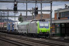 Freight: Rolling highway (2/3) (jaeschol) Tags: bahnhof eisenbahn elektrischelokomotive europa europe kantonaargau kontinent lokomotive re485 re485020 rothrist schweiz suisse switzerland transport chemindefer railroad railway