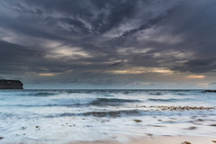 Sunrise Seascape and Cloudy Sky (Merrillie) Tags: daybreak sunrise nature water macmasters centralcoast morning sea newsouthwales rocks earlymorning nsw dawn clouds ocean landscape cloudy waterscape coastal macmastersbeach outdoors seascape australia coast sky waves natureinfocusgroup