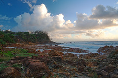 320A3321 Point Perry from First Bay (Leeds Lad at heart) Tags: australia queensland sunshinecoast coolum cliffs landscape rocks trees coast sea ocean water sky clouds seascape