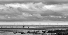 Walking, Hunstanton (Andy McDonald) Tags: blackwhite beach monochrome sky clouds sea walking hunstanton norfolk uk places unitedkingdom england